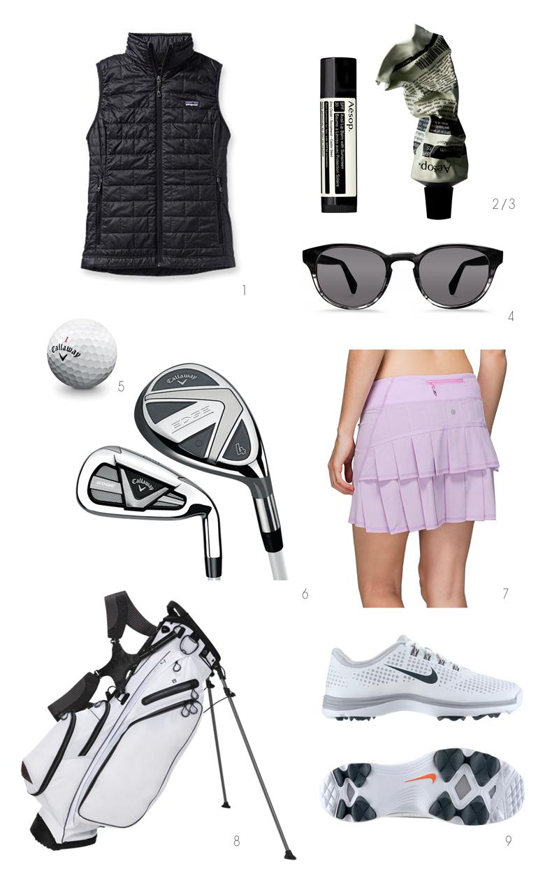golf wish list, callaway, lululemon, patagonia, nike golf, aesop, warby parker
