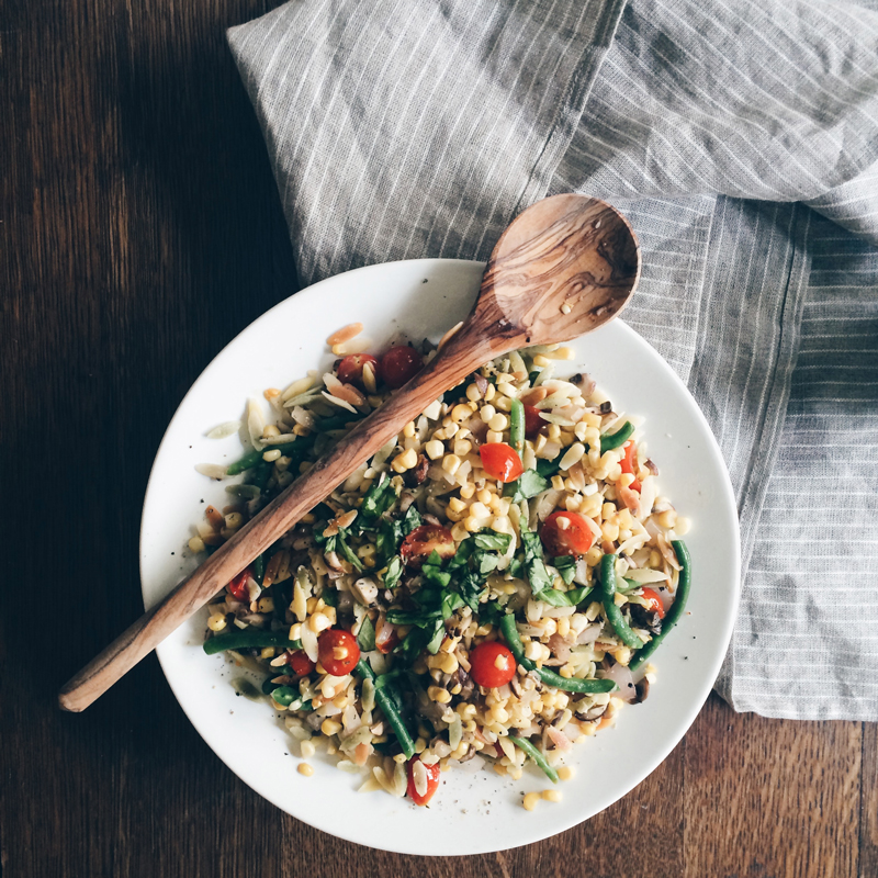 Orzo with corn, green beans, cherry tomatoes and basil