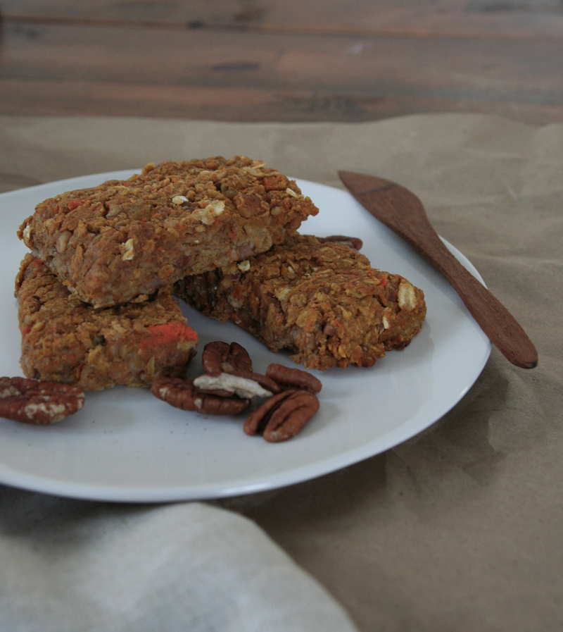 vegan pumpkin carrot pecan bars