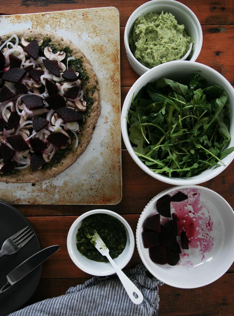 Vegan Cremini Mushroom, Beet & Arugula Pizza