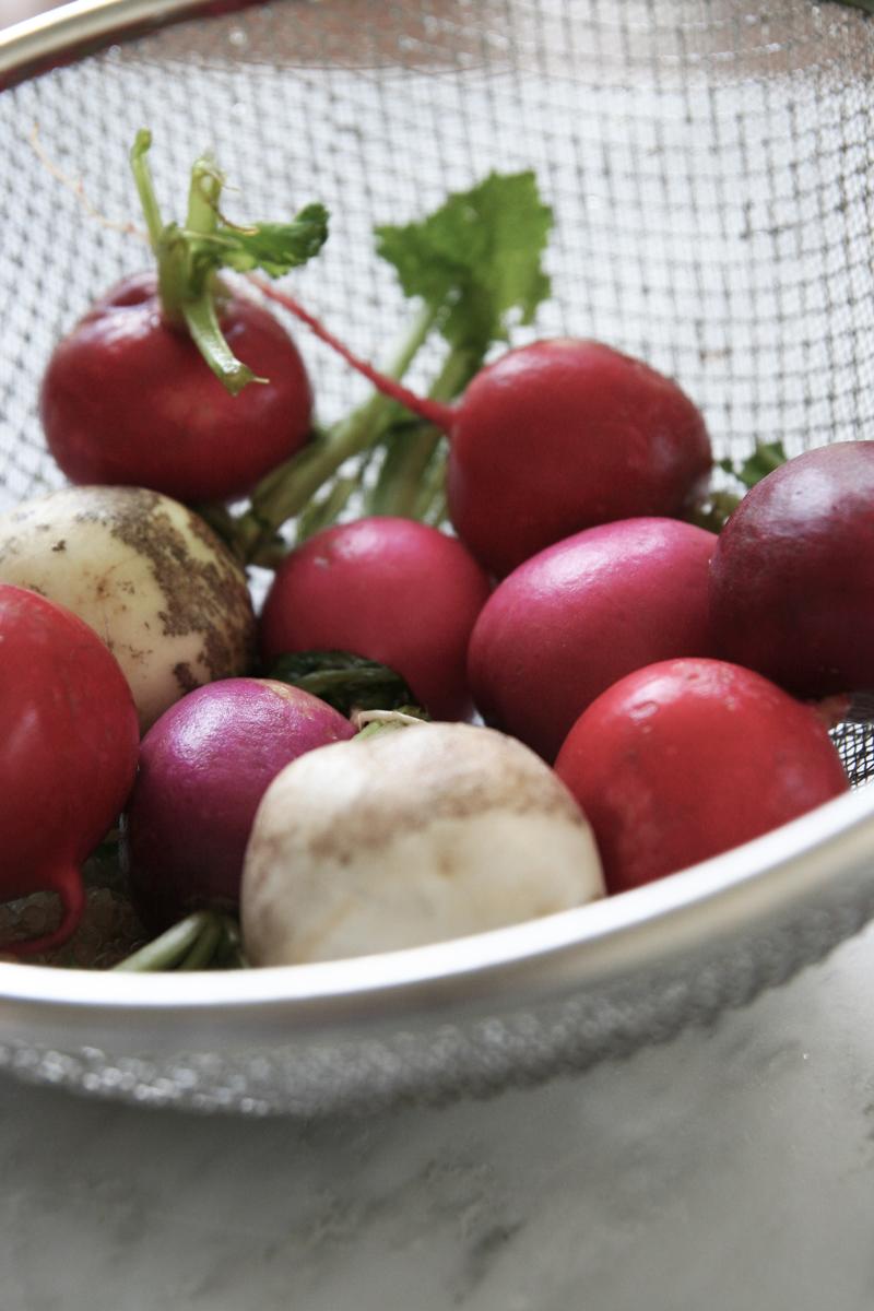 spring quinoa salad with peas, radishes, watercress and lemon