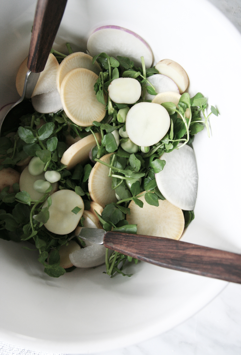 spring potato salad with turnips, watercress, fava beans and green onion with a spinach mustard dressing, vegan, vegetarian