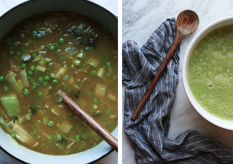 Bright warm pea soup with gluten-free vegan cheddar biscuits, Earth Day Intentions