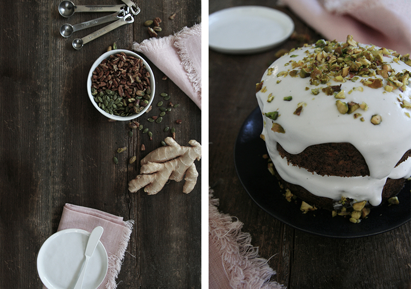mini carrot cake with coconut cream and pistachios (vegan + gluten-free)