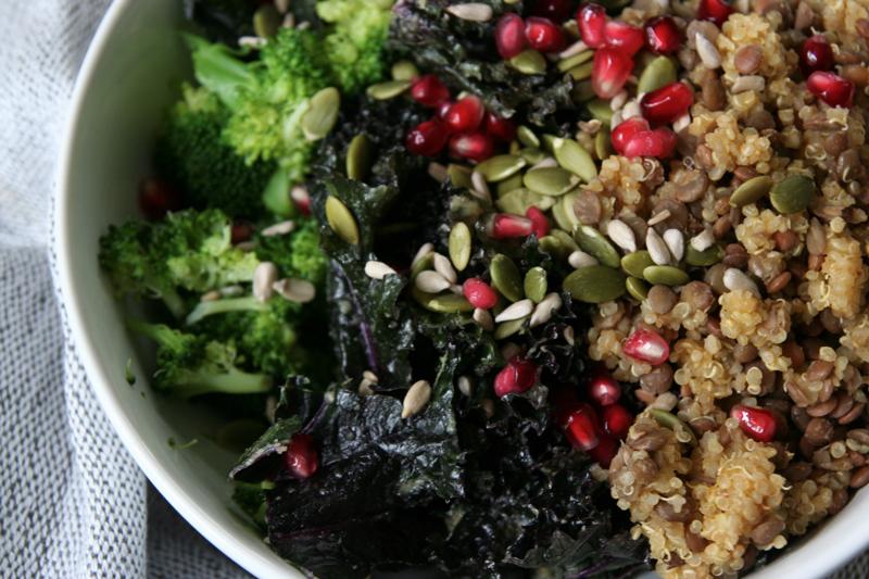 Broccoli, Marinated Kale, Lentil & Quinoa Bowl with Pomegranate Seeds