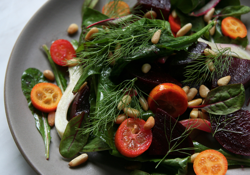 Arugula, Fennel, Beet Salad with Kumquats and Pine Nuts