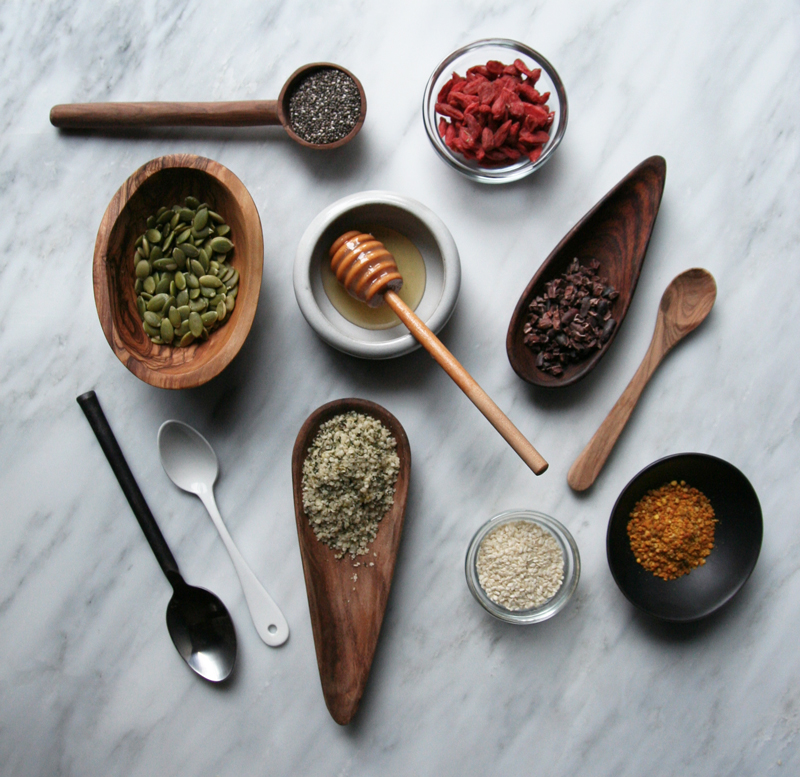 Superfood Energy Bars // Goji Berries, Cacao Nibs, Bee Pollen, Honey, Sesame Seeds, Pumpkin Seeds, Chia Seeds, Dates, Hazelnuts, Walnuts, Pecans, Sunflower Seeds