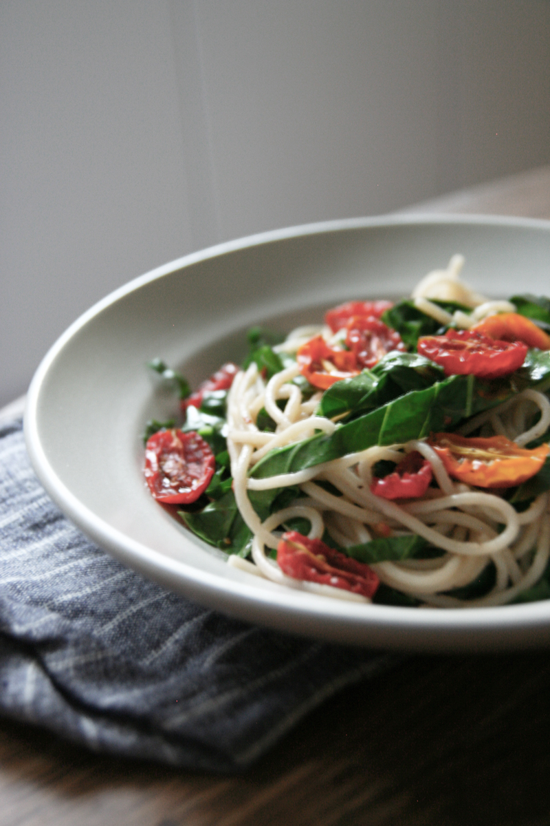 Roasted Tomato + Collard Green Pasta