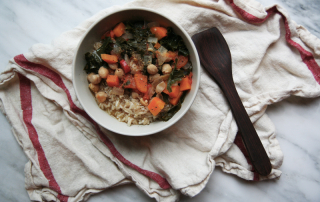 Chickpea, Carrot, Tomato, Sweet Potato and Kale Stew with Brown Rice