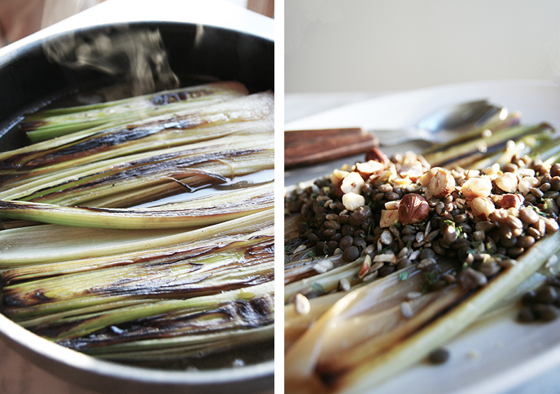Braised Leeks with Lentils, Sunflower Seeds and Hazelnuts